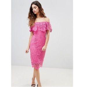 Paper dolls hot pink Bardot lace dress 💕
